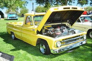 yellow restored Chevy truck