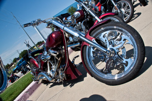 maroon polished motorcycle