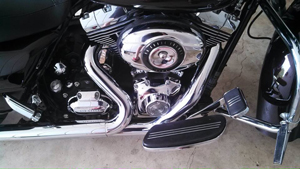 close up of polished chrome on motorcycle
