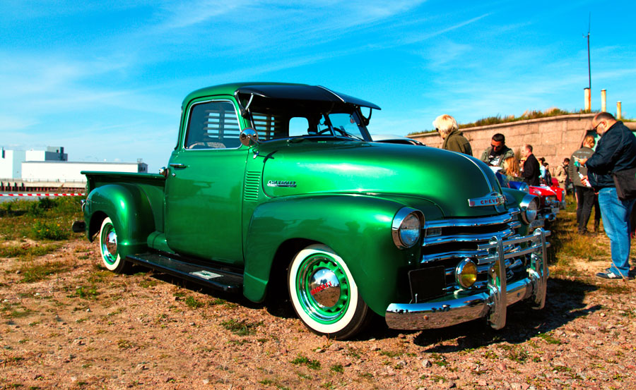 Bright Green Classic Chevy Truck