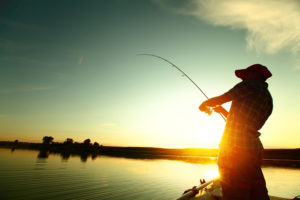 fishing with the sunset