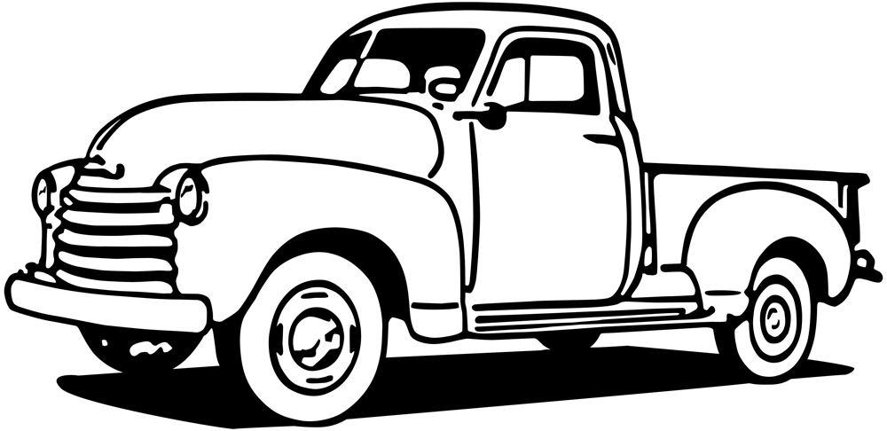 Black and White 1950's Classic Chevy Truck