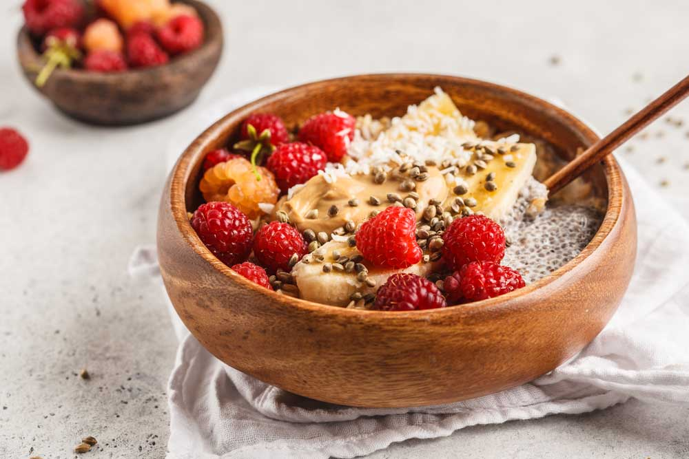 Healthy Hemp Pudding with Raspberries and Chia Seeds