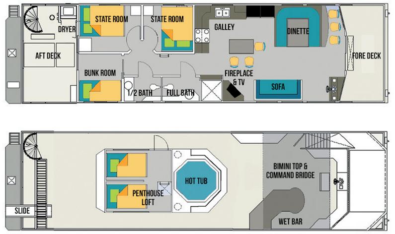 Escapade II houseboat rental layout