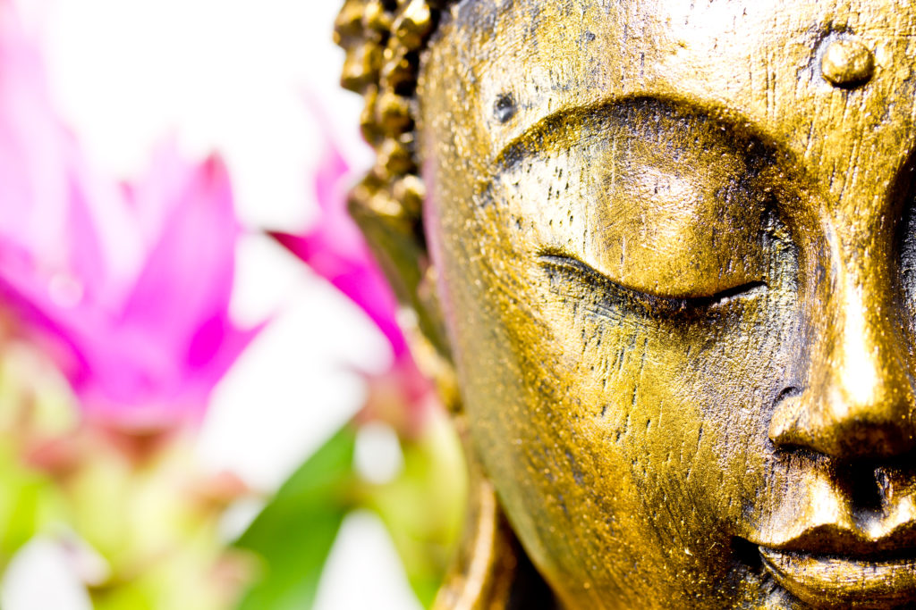 buddha statue with flowers in the background - holistic thyroid