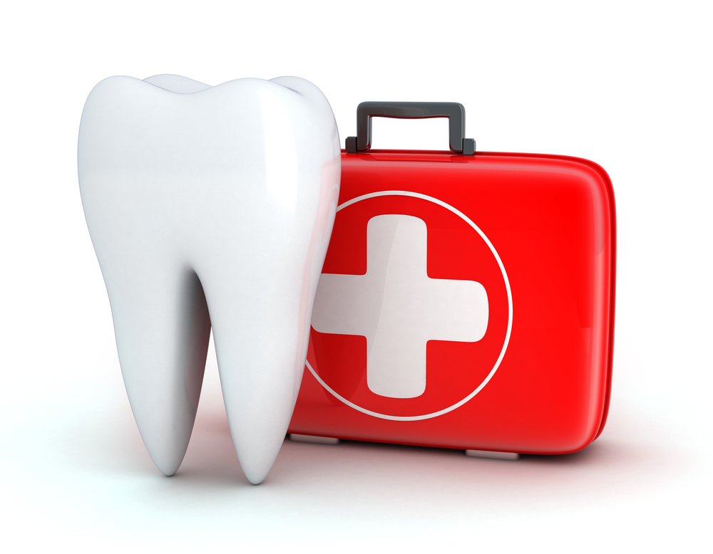 Tooth and Medicine chest on white background (done in 3d)